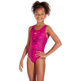 speedo Boom Allover Splashback Traje de Baño Niñas, electric pink/black